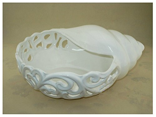 Conch Shape White Ceramic Fruit Candy Dish